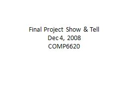 Final Project Show & Tell