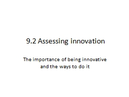 9.2 Assessing innovation