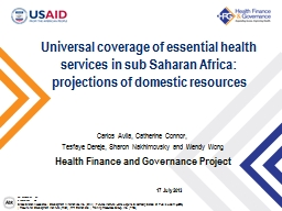 Universal coverage of essential health services in sub Saharan Africa: projections of domestic reso