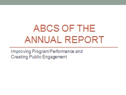 ABCs of the  Annual Report