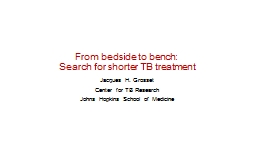 From bedside to bench:  Search for shorter TB treatment