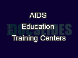 AIDS Education Training Centers