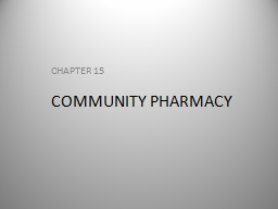 COMMUNITY PHARMACY CHAPTER 15