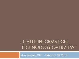Health Information Technology overview