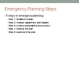 Emergency Planning Steps PowerPoint PPT Presentation