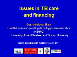 Issues in TB care  and financing