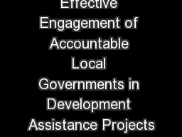 Effective Engagement of Accountable Local Governments in Development Assistance Projects