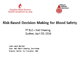 Risk-Based Decision Making for Blood Safety