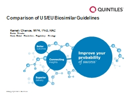 Comparison of US/EU  Biosimilar