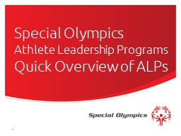 Special Olympics  Athlete Leadership Programs