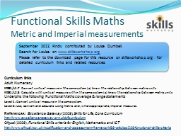 Functional Skills Maths Metric and Imperial measurements