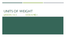 Units of  weight Lesson 14-3               CCSS 4.MD.1