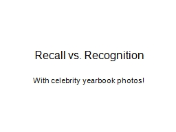 Recall vs. Recognition With celebrity yearbook photos!