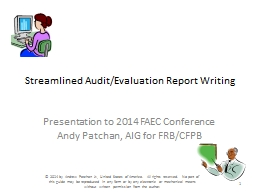 Streamlined Audit/Evaluation Report Writing