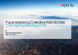 Parameterizing Collective Risk Models