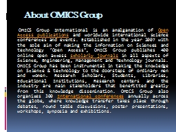 About OMICS Group    OMICS Group International is an amalgamation of�