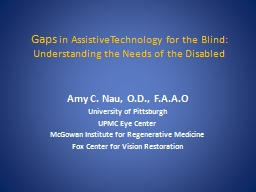 Gaps  in AssistiveTechnology for the Blind: Understanding the Needs of the Disabled
