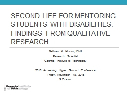 Second Life For Mentoring Students With Disabilities: Findings FROM