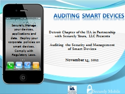 Auditing SMART Devices November