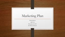 Marketing Plan Krista Jackson