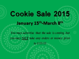 Cookie Sale 2015 January 15