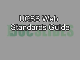 UCSB Web Standards Guide