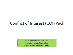Conflict of Interest (COI) Pack