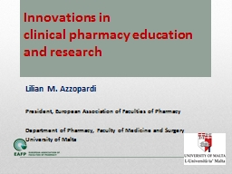 Innovations in  clinical pharmacy education and research