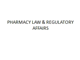 PHARMACY LAW & REGULATORY AFFAIRS