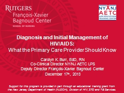 Diagnosis and Initial Management of HIV/AIDS: