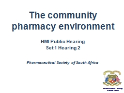 The community pharmacy environment