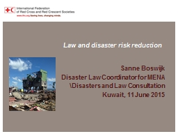 Law and disaster risk reduction