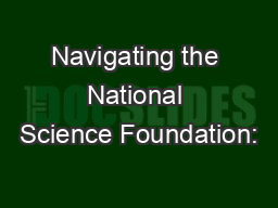 Navigating the National Science Foundation: