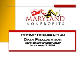 CDSMP Business Plan Data Presentation
