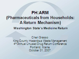 PH:ARM (Pharmaceuticals from Households:  A Return Mechanism)