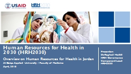 Human Resources for Health in 2030 (HRH2030)