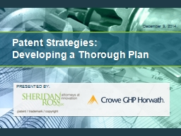 Patent Strategies: Developing a Thorough Plan