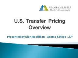 U.S. Transfer Pricing Overview