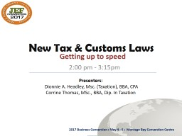 New Tax & Customs Laws