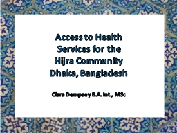 Access to Health Services for the
