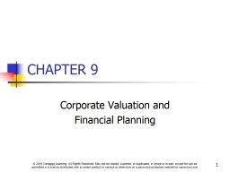 CHAPTER 9 Corporate Valuation and