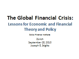 The Global Financial Crisis: