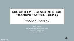 Ground Emergency Medical Transportation (GEMT)