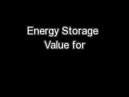Energy Storage Value for