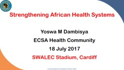 Strengthening African Health Systems