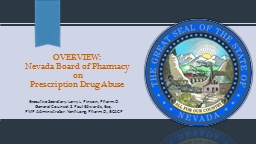 OVERVIEW: Nevada Board of Pharmacy