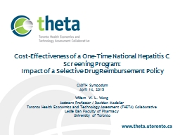Cost-Effectiveness of a One-Time National Hepatitis C Screening Program: