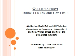 Queer country: Rural Lesbian and Gay Lives
