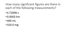 How many significant figures are there in each of the following measurements?