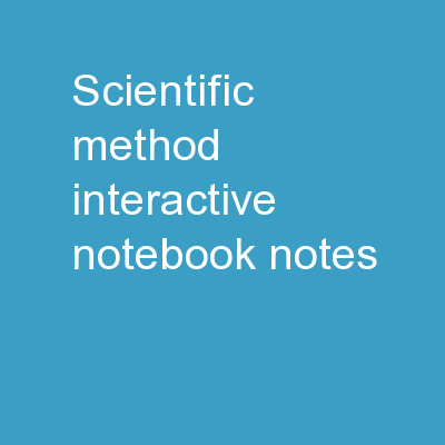 Scientific Method Interactive Notebook Notes
